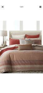Hotel Collection Modern Geo Stripe 2 Standard Red+2 Euro Ivory Shams-New