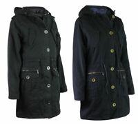 Womens Cotton Padded Drawstring Hooded Pocket Parka Coat Jacket Black or Blue