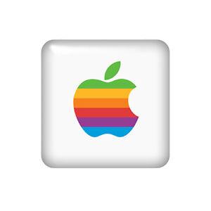Apple 25x25mm Rainbow Retro 3D Domed Sticker / Gel Aufkleber / Badge / Case Logo