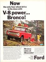 Vintage 1966 ad Ford Bronco Red V8  Hunters Cabin Art
