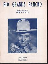 Rio Grande Rancho 1943 Gene Autry Sheet Music
