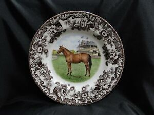 "Spode Woodland Horses Thoroughbred, England: Dinner Plate, 10 3/4"",  Box"