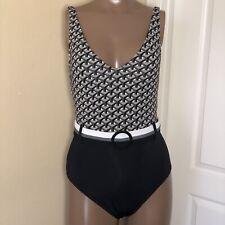 **Sz 6 BLEU Rod Beattie Adjustable Straps Scoop Belted Colorblock Swimsuit Black