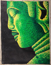 "Asian Original Wall Art Oil Painting-Canvas -Green Buddha (76cm x 58cm) 30"" Tall"