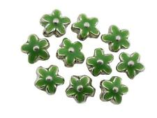 Silver Metal Flower Beads Enamelled Green 15mm Pack of 10 (D13/7)