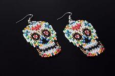American Beaded Earrings, Aztec Earrings Sugar Skull Tribal Earrings, Native