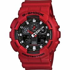 Casio GA100B-4A Red Band Mens G-shock Quartz Alarm Analogue Watch