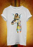 Giraffe Head Painting Colourful Men Women Unisex T Shirt Tank Top Vest 604