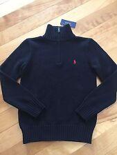 Polo Ralph Lauren Boys Half Zip Sweater Black Red Logo NWT Size Large 14-16