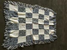 Hand Knit Crocheted Lap Afghan Quilt Blanket Throw Navy and Cream