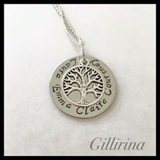 Family Tree Of Life Necklace Stainless Steel Hand Stamped Personalised