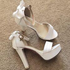 womens platform sandal Ankle Strap Chunky High Heel White Sz 6