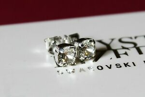 Silver Plated Stud Earrings made with Clear Swarovski Crystal Elements