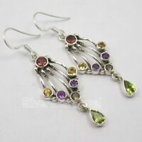 Mix Stones Jewelry !! 925 Solid Silver MULTI COLOR Ethnic Style Earrings 2 Inch