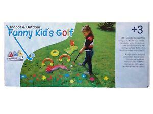 Mini Golf Gartenset für Kinder Außen Innen mit zwei Golfschläger und Hindernisse