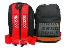 JDM Bride Racing Backpack with Racing Harness Shoulder Straps Seat Belt Red