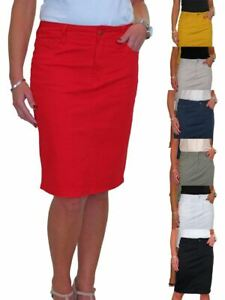 Womens Jeans Style Stretch Cotton Knee Length Pencil Skirt Summer Casual 10-20