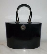 "VINTAGE WILARDY BLACK BAKELITE PURSE RHINESTONE CLASP 10 1/2"" LONG 7 1/4"" TALL"