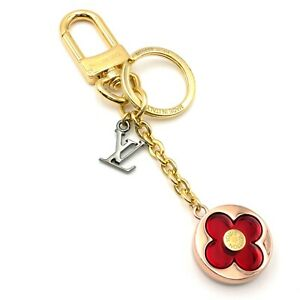 LOUIS VUITTON Bijoux Sac Flash Flower key ring porte-cle M80258 GHW red used LV