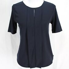 Ann Taylor Front Pleat Top Sz SP Navy Blue Short Sleeve Knit Back Shirt Blouse