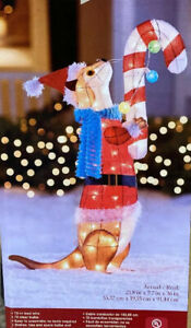 """Lighted Holiday Living 36"""" Otter Candy Cane Christmas Hard Tinsel Sculpture"""