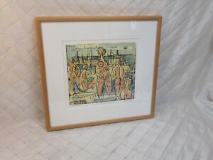 Women by the Sea Herbert Johannes Siebner Signed Artist Proof Color Etching 1952