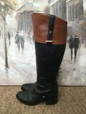 Stunning River Island Black & Tan Leather Over The Knee Boots Size:5 Euro:38