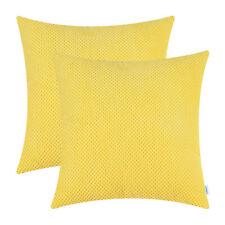 "2Pcs Cushion Covers Pillow Shell Corduroy Pineapple Trellis Bright Yellow 18x18"""