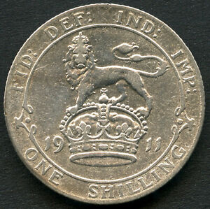 1911 Great Britain 1 Shilling Silver Coin (5.66 Grams .925)