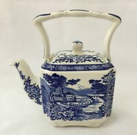 JAMES SADLER BLUE AND WHITE ORIENTAL GARDEN PORCELAIN TEAPOT