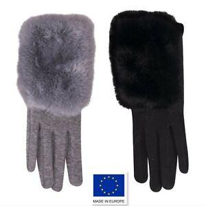 Woman Ladies Winter Autumn Elegant Jersey with Fur Gloves Black Grey