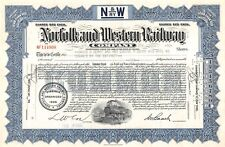 Norfolk and Western Railway Compagny Certificate 1955