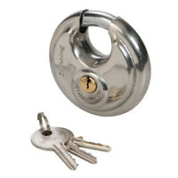 Stainless Steel Disc Padlock 70Mm Security High Silverline 292707