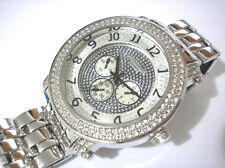 Iced Out Bling Bling Big Case Hip Hop Techno King Men's Watch Silver Item 3636
