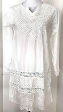 KC Signatures Womens Cotton White Tunic with Embroidery | Sequins Size M NWOT