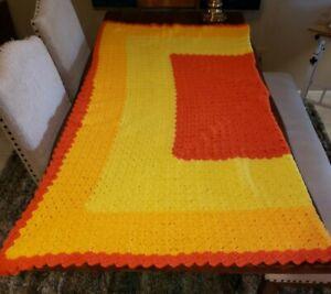 "Vintage Large Crocheted Afghan Blanket Throw Orange Yellow EUC 72x72"" Queen 1970"