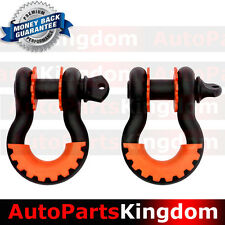 """1Pair 3/4"""" Black 4.75 ton D-ring Shackle+Orange Isolator Washers Silencer Clevis"""