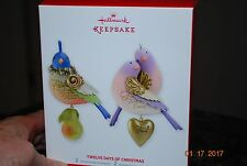 2013 Hallmark Twelve Days of Xmas Partridge Turtle Dove set 2 Keepsake Ornament