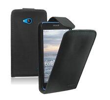 BLACK Leather Flip Case Cover Pouch For Nokia Microsoft Lumia 640 Dual Sim LTE