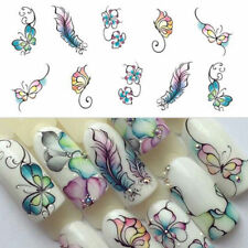 3Sheets/Set Purple Flowers Leaves Nail Water Decals Butterfly Transfer Stickers