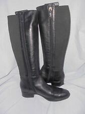 GEOX WOMEN BLACK LEATHER/ELASTIC ZIP UP KNEE HIGH BOOT SIZE UK 6 EU 39 VGC