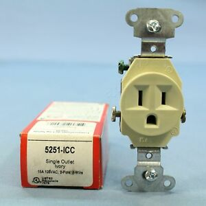 P&S Ivory Straight Blade Single Receptacle Outlet NEMA 5-15R 15A 125V 5251-ICC