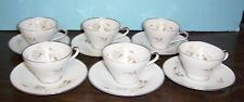 6 ROYAL SELB GERMANY WHITE ROSES CUPS & SAUCERS NEVER USED FREE US SHIPPING