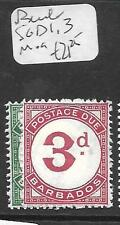 BARBADOS  (PP1405B) POSTAGE DUE SG D 1, 3  MOG