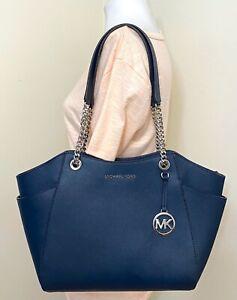 Michael Kors Jet Set Chain Saffiano Leather MK Signature Large Shoulder Tote Bag