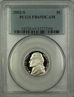 2002-S Proof Jefferson Nickel 5c Coin PCGS PR-69 DCAM Deep Cameo