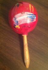 "1x Puerto Rico Wooden Maracas Percussion Shaker Instrument 8"" Handmade Vintage"