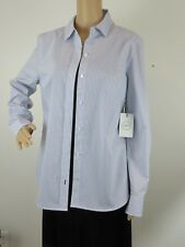 NWT NORDSTROM  SIZE M 1901 WOMEN'S BLUE & WHITE LONG-SLEEVED STRIPED BLOUSE TOP