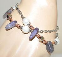 PULSERA mujer plata oro rosa perlas piedras de wisteria púrpura lila armband G50