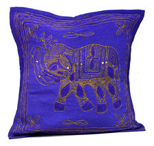 An Ethnic Applique Indian Decorative Purple Elephant Jari Throw Cushion Cover